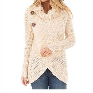Wrap Style Textured Sweater - Cowl Neckline